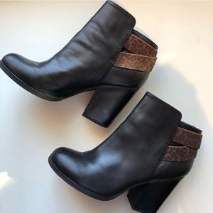 Kenneth Cole Black Booties Leopard Print Band 7.5
